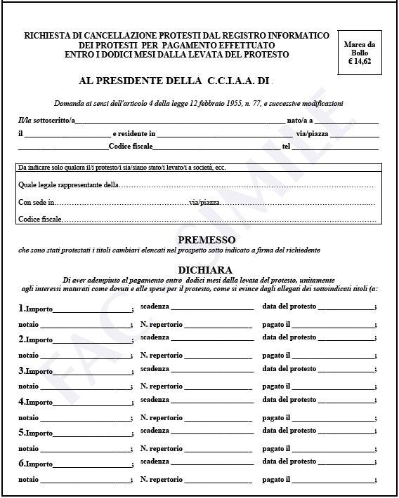 richiesta di cancellazione protesti dal registro informatico dei protesti per pagamento effettuato entro i dodici mesi dalla levata del protesto - foglio 1