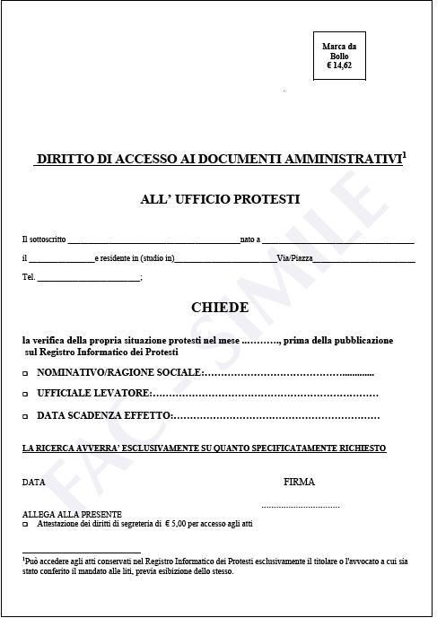 Modello di domanda (facsimile) per accesso da tabulato agli atti relativi al protesto, prima della pubblicazione