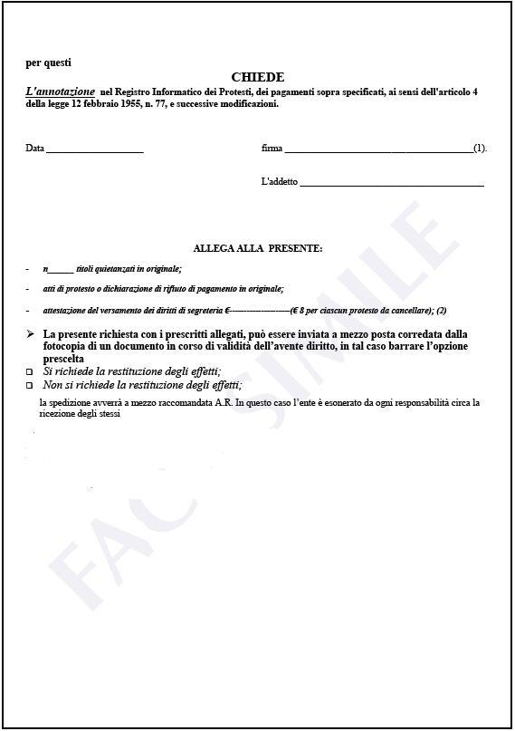richiesta di annotazione nel registro informatico dei protesti per pagamento effettuato oltre i dodici mesi dalla levata del protesto - foglio 1
