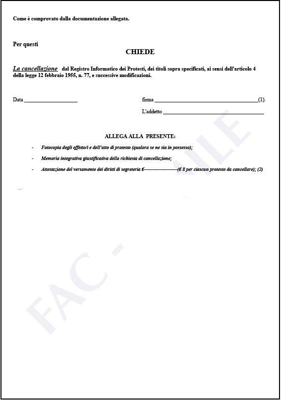 richiesta di cancellazione dal registro informatico per levata illegittima o erronea del protesto - foglio 2