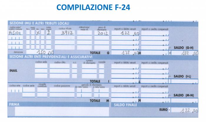 IMU - compilazione f24 ipotesi pagamento 2 rate