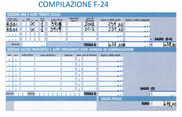 IMU - esempio calcolo abitazione tenuta a disposizione - compilazione f24