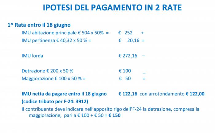 IMU - ipotesi pagamento 2 rate - prima rata