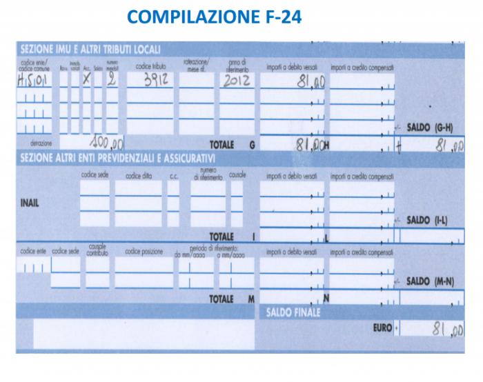 IMU - compilazione f24 ipotesi pagamento 3 rate - prima rata