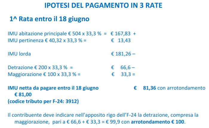 IMU - ipotesi pagamento 3 rate - prima rata